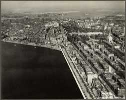 The photograph, shooting toward the East, shows the Back Bay and the Charles River in 1928.