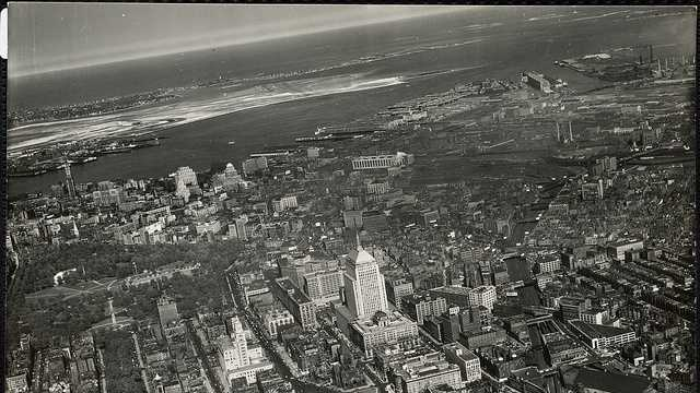 Aerial panoramic view of Boston (Back Bay, downtown, East & South Boston) 1950.jpg