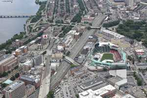 Kenmore Square, Fenway Park and the Massachusetts Turnpike in 2012.