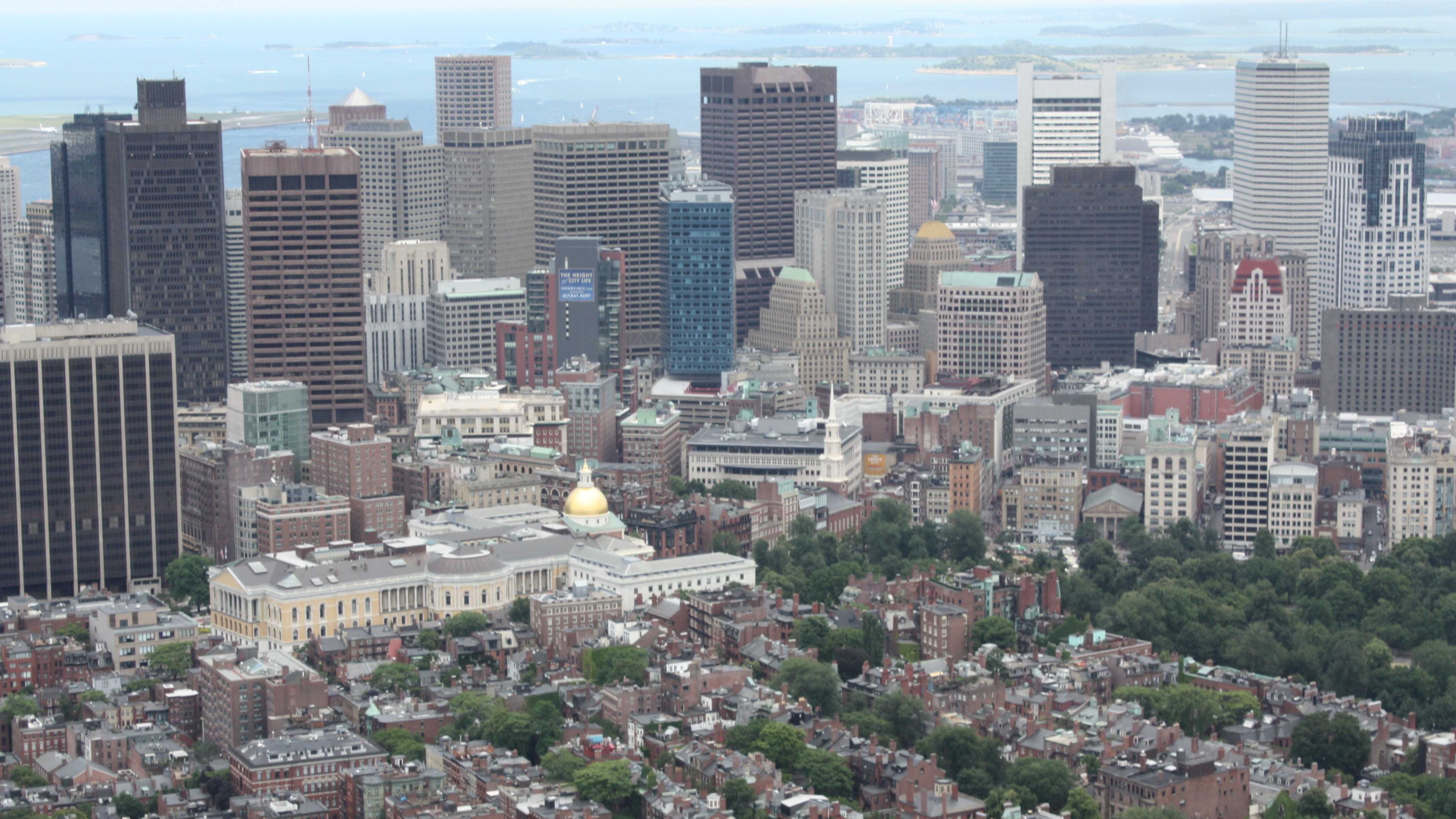 Beacon Hill Statehouse from air.JPG