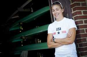 Gevvie Stone, who competes in the women's single sculls, grew up in Newton and currently lives in Cambridge.