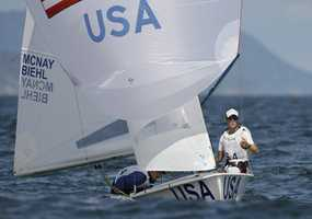 McNay (left) became hooked on sailing while competing in his first race at the Beverly Yacht Club Junior Regatta.