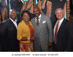 WCVB GM Bill Fine, TV & radio personality Steve Harvey, WCVB CityLine host Karen Holmes Ward, and Darryl Settles, owner of Darryl's Corner Bar & Kitchen where the event was held.