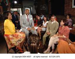 Steve Harvey entertains CityLine Host Karen Holmes Ward and the audience during the interview.