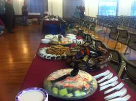 Snacks are set up in advance of the Needham viewing party as the town gathered to watch one of her performances.