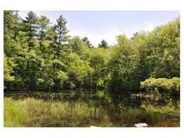 A private pond is located on the property.