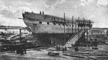 Earliest known photo. USS Constitution undergoing repairs at the Navy yard, Portsmouth, N.H. 1858.