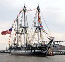 USS Constitution returns to her pier after an underway to celebrate her 213th launching day anniversary on July 21, 2010.