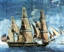 The earliest known depiction of USS Constitution in 1803. The ship's maiden voyage was on July 22, 1798.