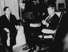Soviet Foreign Minister Andrej Gromyko, left, meets with President John F. Kennedy in the White House Oct. 18, 1962. It was the height of the Cold War, and many people feared nuclear war would annihilate human civilization. Gromyko lied to Kennedy, telling him the Soviet Union had no missiles in Cuba.