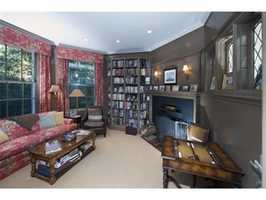 A paneled library.