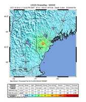 The map of where the earthquake was felt from the USGS website. Communities that reported shaking are in blue.