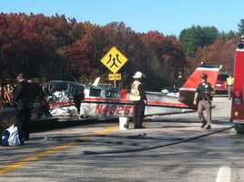 Two people were killed in a plane crash near I-93 in Hooksett on Thursday.
