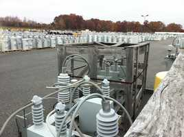 A National Grid facility is stocked with repair equipment in preparation for the storm.