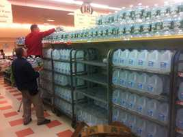 Stocking up with water at Market Basket.