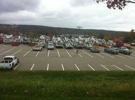 NStar trucks lined up in a Westwood parking lot