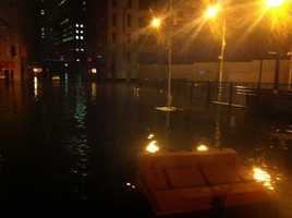 Water levels are high now at Greenwich St. and Albany St. downtown near the World Trade Center.