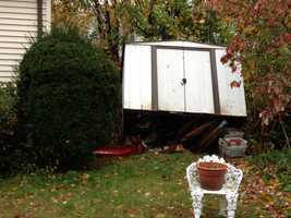 A shed overturned on Russell Road in Newton