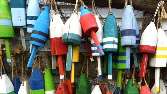 Boothbay Maine lobster buoys