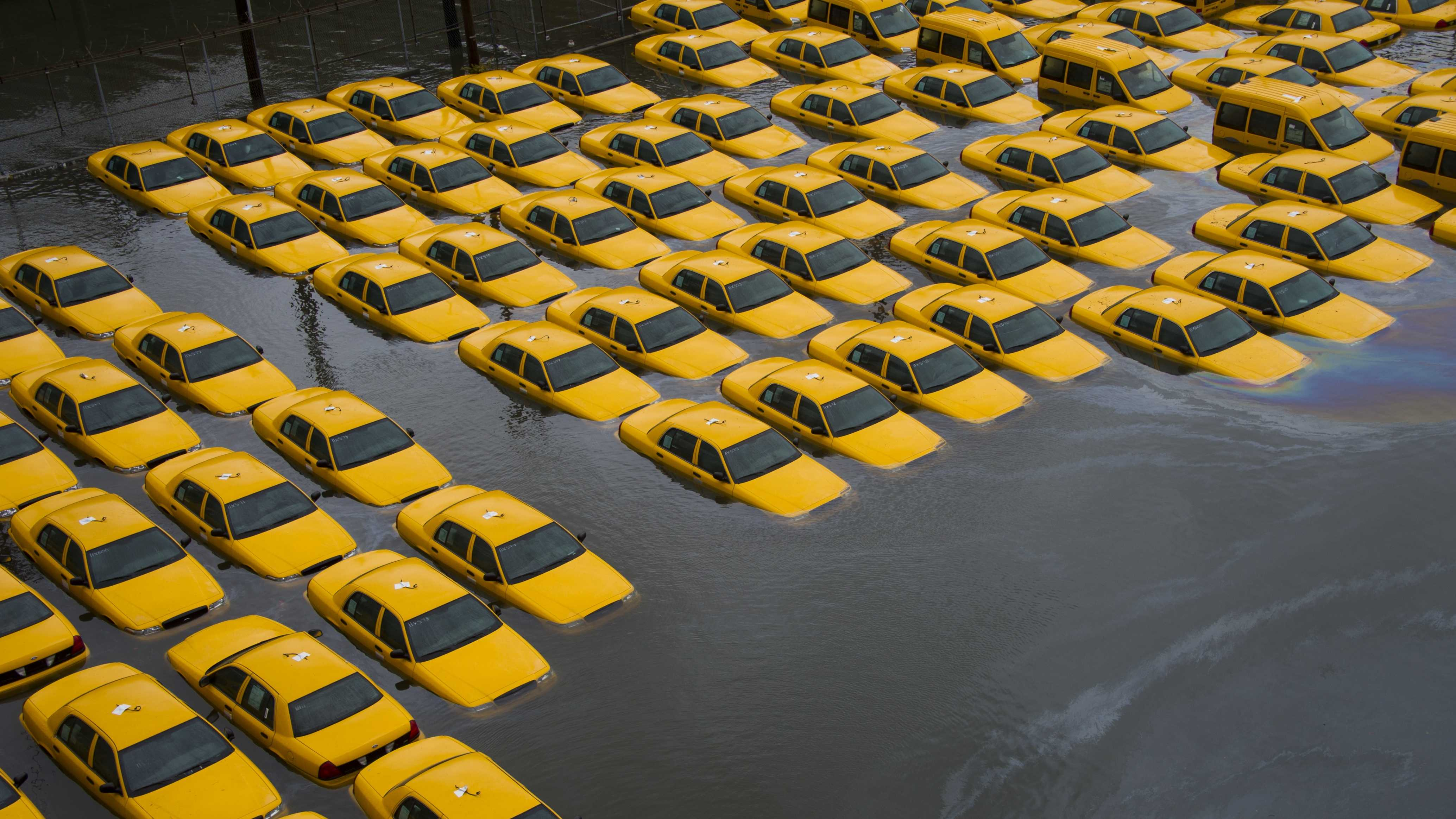 AP - Yellow Cabs Flooded