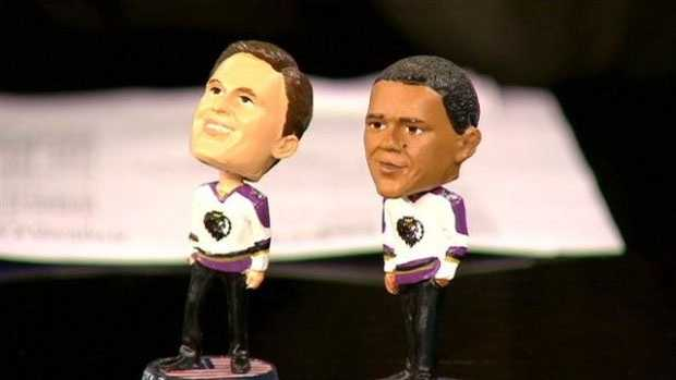 Romney, Obama bobbleheads