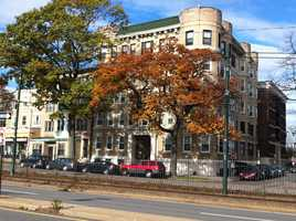 The apartment building at 1325 Commonwealth Avenue in Boston where Aerosmith band members lived in the 1970s.