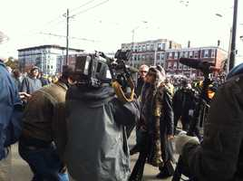 Aerosmith front man Steven Tyler arrives outside a Comm Ave apartment that the band used to call home.