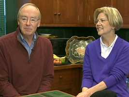 """Elizabeth Warren, then a candidate for U.S. Senate, and her husband were interviewed by Liz during the 2012 campaign. Liz regularly did """"at home"""" interviews with candidates for state-wide office."""