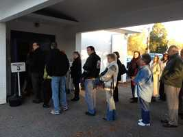 Voters wait in line in Wakefield.