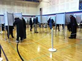 Voters cast their ballots in Wrentham.