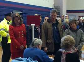 Sen. Scott Brown arrives to vote.