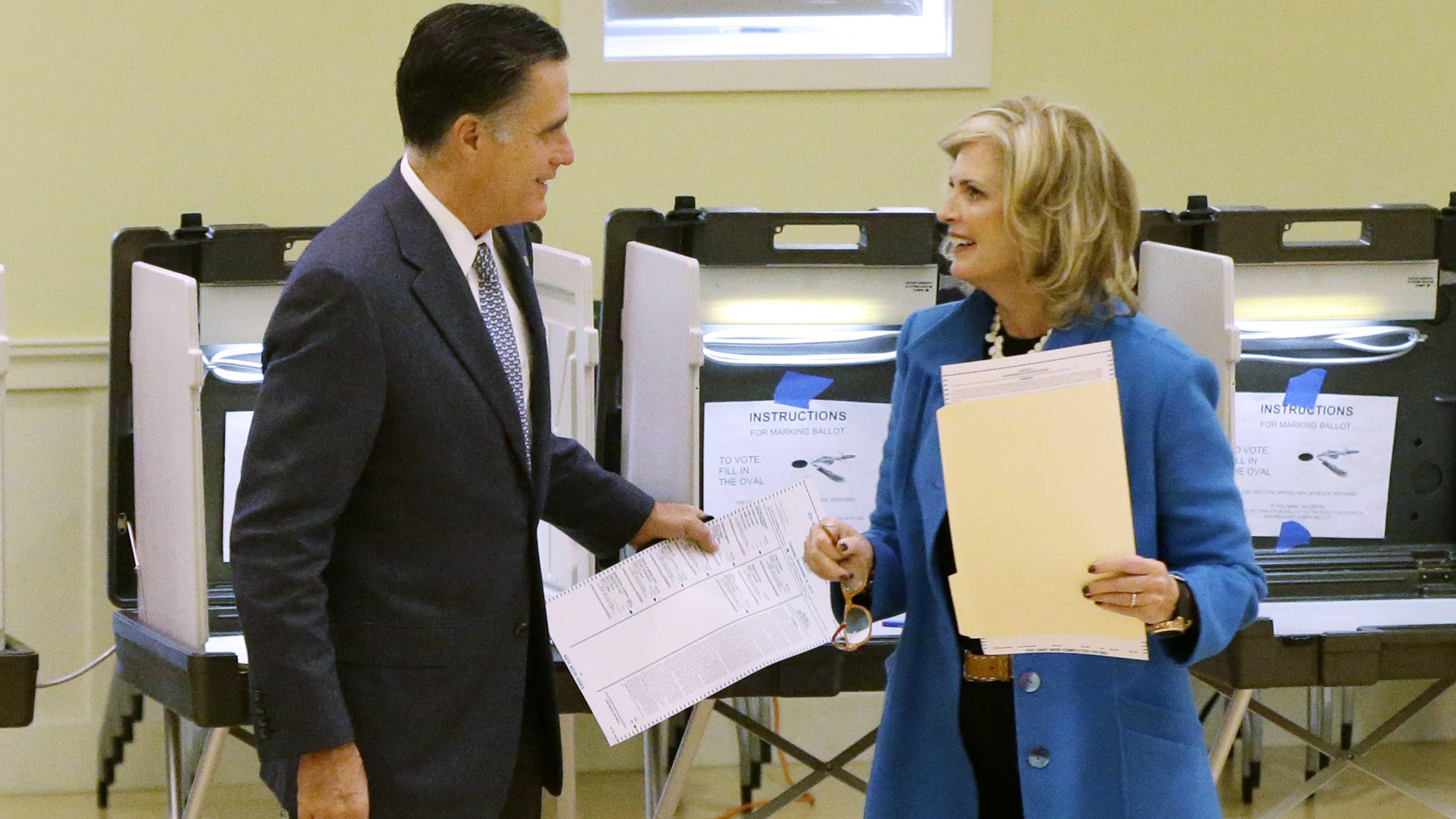 Mitt Romney votes in Belmont