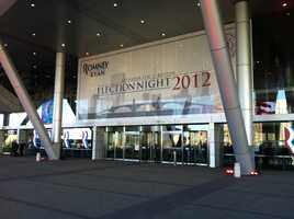 The Boston Convention Center prepares for Mitt Romney's election night event.