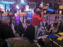 Media at the Boston Convention Center prepares for Mitt Romney's election night event.