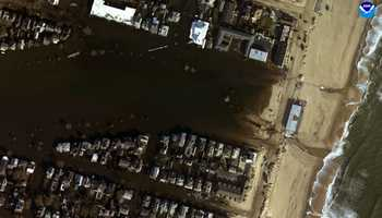 "Belmar, New Jersey. ""Before"" image captured by Google&#x3B; ""After"" image captured by NOAA's National Geodetic Survey."