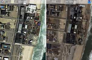 Photographs were taken by teams of NOAA aviators flying above the disaster area at 5,000 feet aboard two aircraft-planes equipped with specialized remote-sensing cameras that captured thousands of photographs at a high resolution.  Here's a comparison of several parts of the coast before Hurricane Sandy, and after.