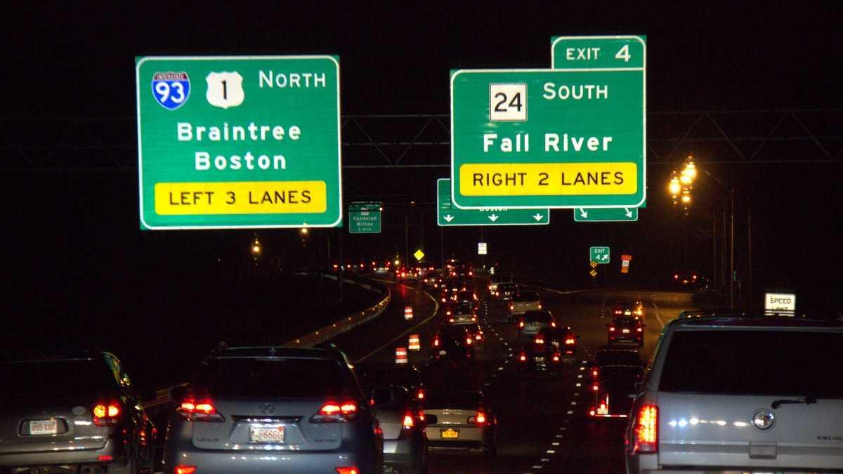 Road Signs I-93 near Randolph nighttime
