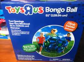 """Toys 'R Us Bongo BallAccording to W.A.T.C.H., there is the potential for impact and other serious injuries.W.A.T.C.H. says children as young as 3 years old are encouraged to """"climb inside"""" this colorful inflatable ball, in order to """"Bounce, Spin, Roll, Tumble!"""" The box, which portrays unsupervised children playing with the oversized inflatable ball, cautions that adult supervision is """"required"""". However, the toy itself indicates that adult supervision is only """"recommended""""."""