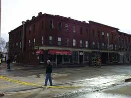 Firefighters remained on the scene into Sunday morning dousing hot spots.