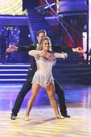 Shawn Johnson dances with her partner.