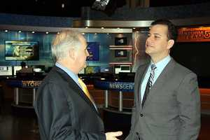 WCVB-TV President Bill Fine talks with Kimmel.