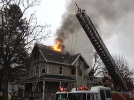 The fire started at about 7:30 a.m. at the home on Lake Street and quickly reached three alarms.