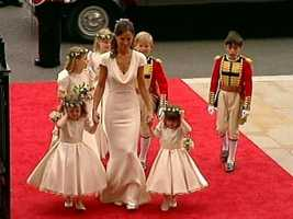 Kate's sister and bridesmaid, Pippa, arriving with the bridal attendants.