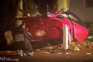 Police said the Honda Accord slammed into a tree off Bay Street shortly before 12:30 a.m. after crossing over the wrong side of the road.