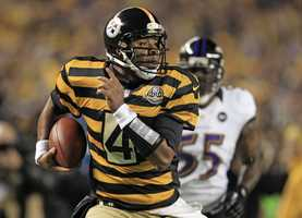 3) Pittsburgh Steelers - On a side note - this is a look at the Steelers alternate jersey for 2012 -- undoubtedly one of the worst uniforms of all time. The Black & Gold wore these jerseys in the 1930s, presumably when games weren't shown on TV and photos were only taken in black and white.