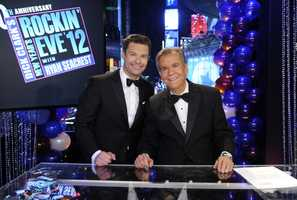 Dick Clark, with Ryan Seacrest, makes his final appearance during 2012's 40th anniversary Rockin' Eve broadcast.  Clark died in April 2012 at the age of 82.