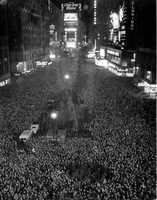 Crowds welcome 1943.  The Ball was not dropped in 1942 or 1943 because of wartime blackouts.