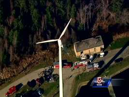 Firefighters from Hanover and nearby communities are attempting to rescue a worker who fell into the town's new wind turbine.The victim is reportedly a 53-year-old man who fell 40 feet into the structure at around 9 a.m. Friday.