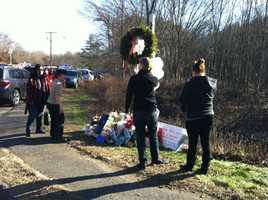 A memorial near Sandy Hook Elementary School where the gunman took 26 lives.