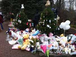 Last year, a memorial surrounding 26 Christmas trees, one for each victim, was setup in downtown Newtown.